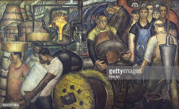 Mural from the Clarkson S. Fisher Federal Building & U.S. Courthouse, Trenton, New Jersey, c. 1935. Mural shows American heavy labor workers getting...