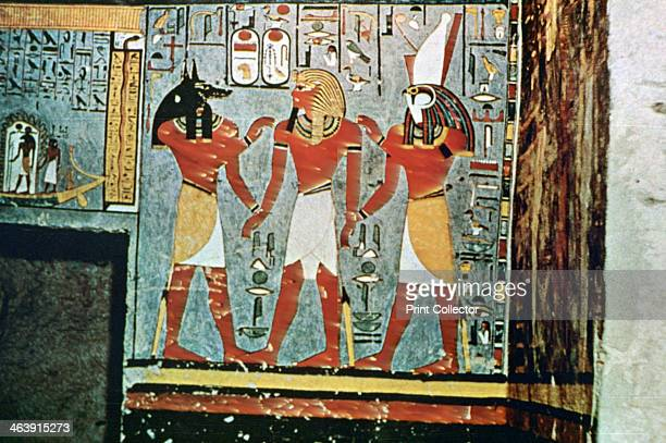 Mural from the Tombs of the Nobles Thebes Luxor Egypt 20th Century The gods Anubis and Horus The Tombs of the Nobles are tombs of priests and...