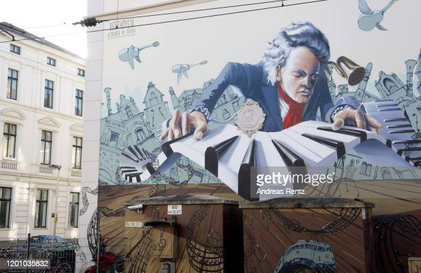 A mural graffiti shows German pianist and composer Ludwig van Beethoven on a house facade on January 21 2020 in Bonn Germany Germany is celebrating...