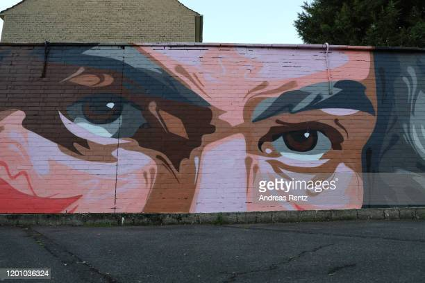 A mural graffiti shows German pianist and composer Ludwig van Beethoven on a wall on January 21 2020 in Bonn Germany Germany is celebrating Ludwig...