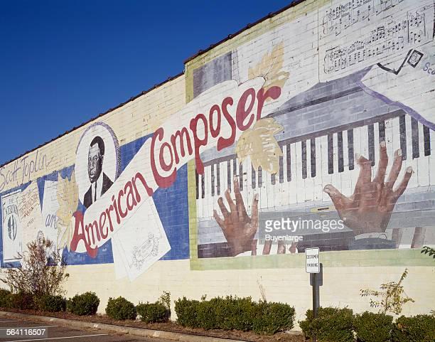 Mural honoring ragtime composer Scott Joplin who attended the Orr School in Texarkana Arkansas