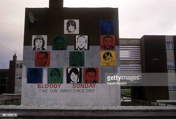 Mural in a Catholic residential area of Derry , Northern Ireland, depicting the victims of the Bloody Sunday incident, 23rd December 1994.
