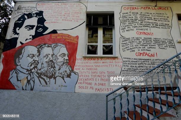 A mural in honour of Antonio Gramsci is seen in Orgosolo the small centre of Barbagia famous all over the world for the paintings that adorn the old...