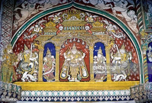 Mural in maratha darbar hall at thanjavur palace, Tanjore, Tamil Nadu, India