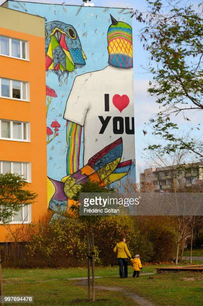 Mural in the district of Zaspa in Gdansk which is inhabited by the workmen of the shipyard Zaspa becomes the largest monumental picture gallery in...
