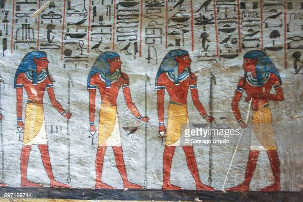 mural in tomb of ramses i - egypt stock pictures, royalty-free photos & images