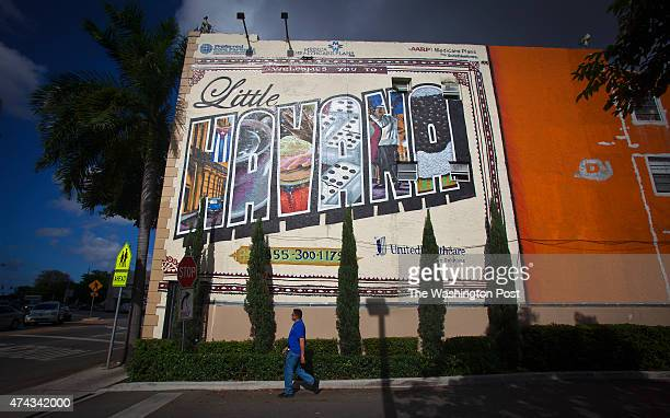 A mural is painted on a wall at 27th Avenue and SW 8th St in the Little Havana area of Miami on May 14 2015