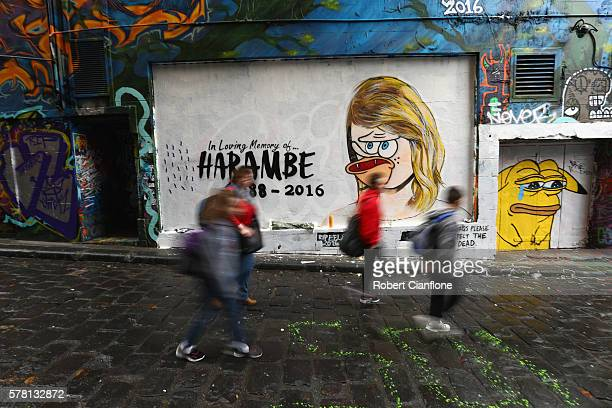 A mural is seen in Hosier Lane on July 21 2016 in Melbourne Australia The original mural by Melbourne graffiti artist Lushsux depicted Taylor Swift...