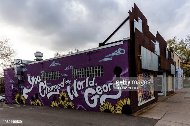 Mural is seen near George Floyd Square in Minneapolis, Minnesota on April 21 a day after Derek Chauvin was convicted of Floyd's murder. - The...