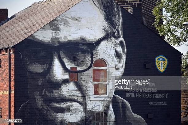 Mural is seen on the side of a building featuring an image of Leeds United's Argentinian head coach Marcelo Bielsa in Leeds, northern England on...