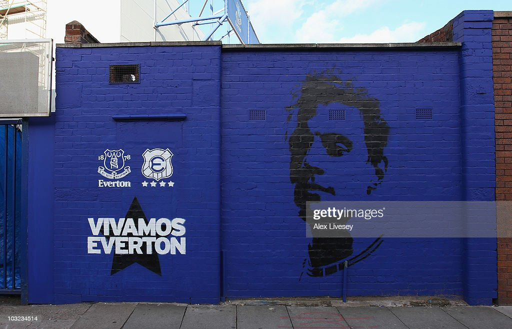A mural is seen outside Goodison Park prior to the pre-season friendly match between Everton and Everton Chile at Goodison Park on August 4, 2010 in Liverpool, England.