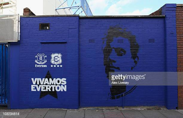 A mural is seen outside Goodison Park prior to the preseason friendly match between Everton and Everton Chile at Goodison Park on August 4 2010 in...