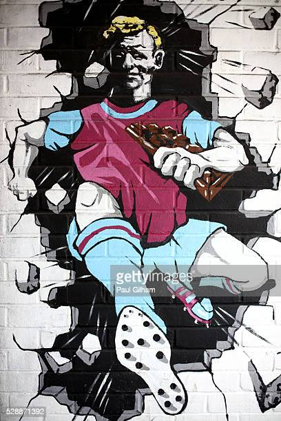 A mural is seen prior to the Barclays Premier League match between West Ham United and Swansea City at the Boleyn Ground May 7 London England