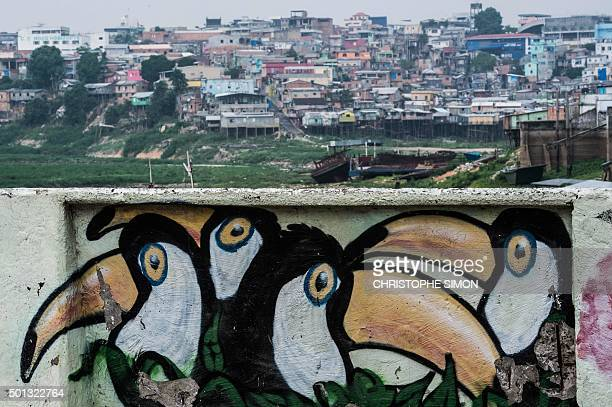 A mural is seen with a slum in the background on the bank of the Rio Negro in Manaus Amazonas state Brazil on December 11 2015 AFP PHOTO / Christophe...