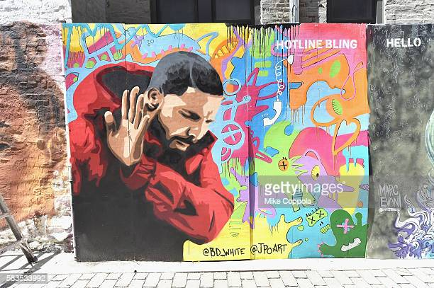A mural is unveiled announcing the 2016 MTV Video Music Awards nominations in First Street Green Art Park on July 25 2016 in New York City MTV...