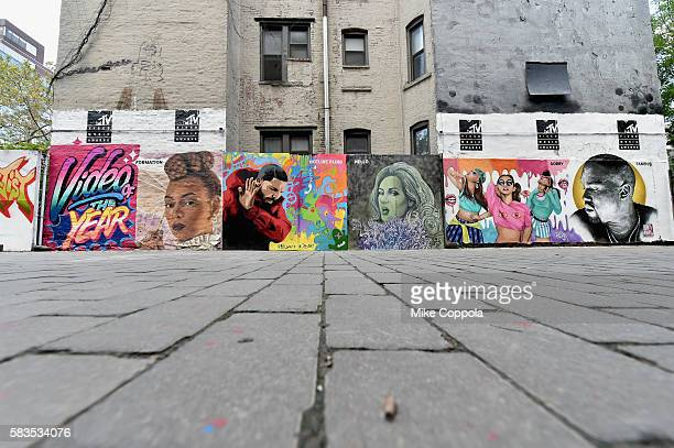 A mural is unveiled announcing the 2016 MTV Video Music Awards nominations in First Street Green Art Park on July 25 2016 in New York City