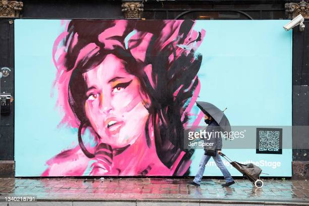 Mural is unveiled to mark the Design Museum's Amy Winehouse exhibition announcement in Camden on September 14, 2021 in London, England.