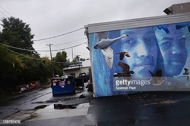 Mural is viewed on a wall in downtown Reading on October 19, 2011 in Reading, Pennsylvania. Reading, a city that once boasted numerous industries and...