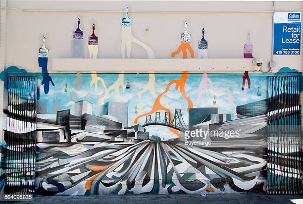 Mural located at 998 Market Street by artist Robert Harris showing Market Street looking towards the Ferry building created for the San Francisco...