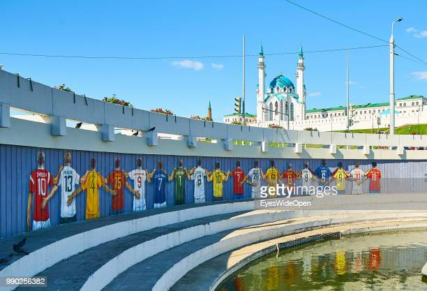 A mural near Kazan Kremlin with famous World Cup football player from all countries like Fedor SMOLOV Russia Nr10 Thomas MUELLER DFB 13 Sergio RAMOS...