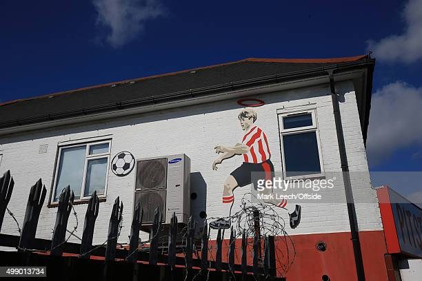 A mural of a Southampton player on the the wall of a local café during the Barclays Premier League match between Southampton and Manchester United at...