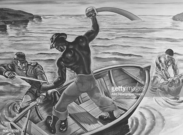 Mural of AfricanAmerican Captain Robert Smalls fighting with a sword during a battle with the Confederate Army 1942