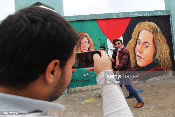 A mural of Ahed Tamimi was painted in Gaza on 17 January 2018