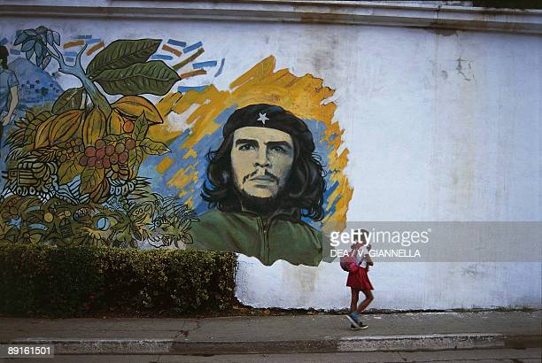 Mural of Che Guevara on the wall Baracoa Guantanamo Cuba
