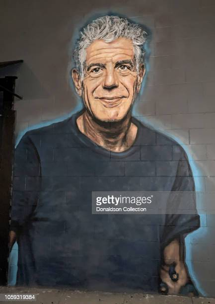 A mural of chef Anthony Bourdain painted on the side of Gramercy Restaurant by artist Jonas Never on October 25 2018 in Los Angeles California...