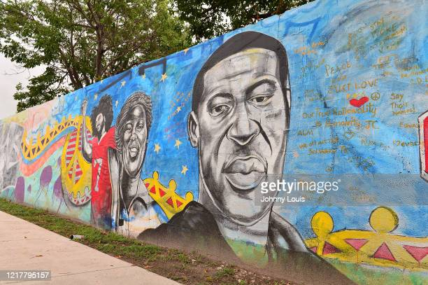 Mural of Colin Kaepernick and George Floyd is seen as protesters demonstrate against police brutality on June 5, 2020 in Miami, Florida. Protesters...