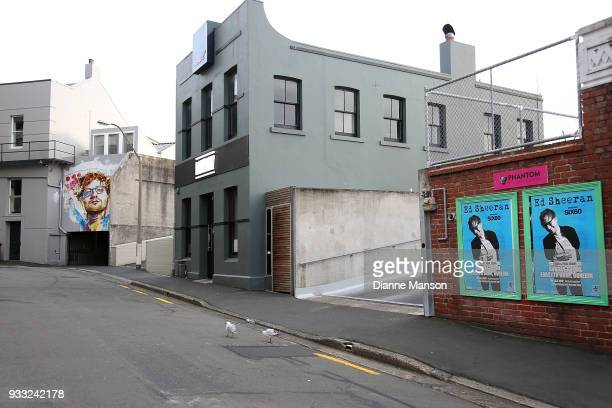 A mural of Ed Sheeran on Bath St painted by Dunedin artist Tyler Kennedy Stent is seen on March 18 2018 in Dunedin New Zealand The mural was...