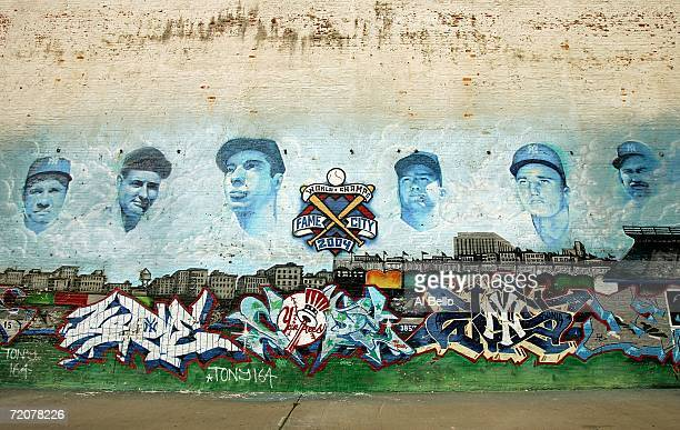 A mural of former New York Yankees Babe Ruth Lou Gehrig Joe DiMaggio Mickey Mantle Roger Maris Thurman Munson shown outside of Yankee Stadium prior...
