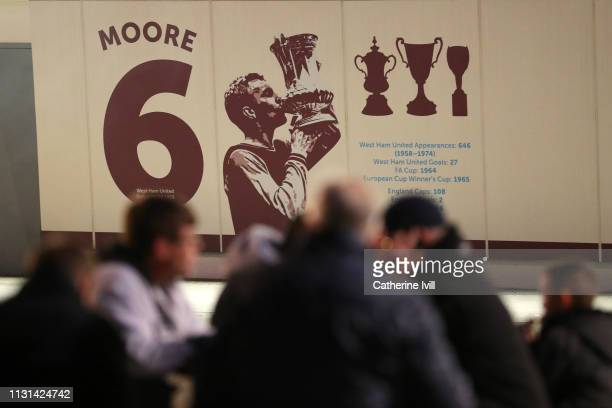 A mural of former West Ham United Captain Bobby Moore is seen prior to the Premier League match between West Ham United and Fulham FC at the London...