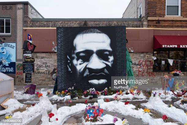 Mural of George Floyd at the intersection of 38th Street and Chicago Avenue S. In Minneapolis, United States, on January 18, 2021.