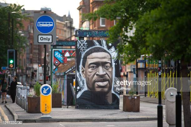 Mural of George Floyd by the street artist Akse has appeared in Stevenson Square in Manchester's Northern Quarter, on June 2, 2020. Floyd's death in...