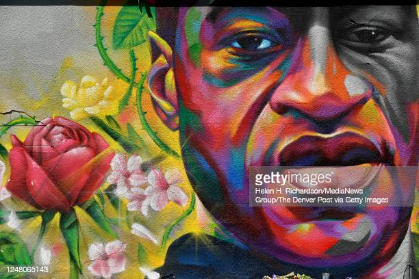 A mural of George Floyd is painted on a wall along Colfax Avenue on June 7 2020 in Denver Colorado George Floyd was killed in the hands of Minnesota...