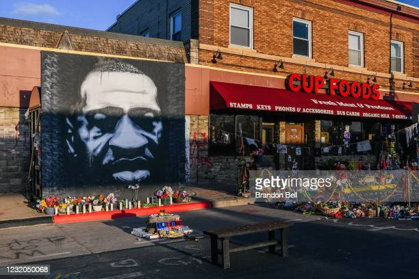 Mural of George Floyd is shown in the intersection of 38th St & Chicago Ave on March 31, 2021 in Minneapolis, Minnesota. Community members continue...