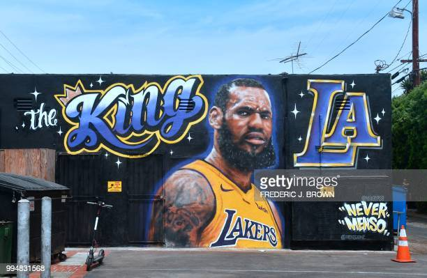 A mural of LeBron James in a Los Angeles Lakers jersey is viewed in Venice California on July 9 2018 It was originally revealed July 6 and then...