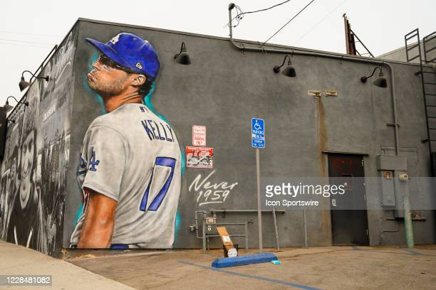 Mural of Los Angeles Dodgers pitcher Joe Kelly making his pouty face mocking the Astros as the Houston Astros face the Los Angeles Dodgers this...