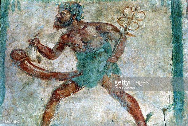 Mural of Mercury Pompeii Italy Erotic portrait of a figure with an erection