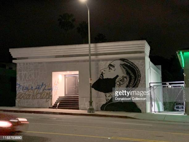A mural of Nipsey Hussle on June 3 2019 in Los Angeles California