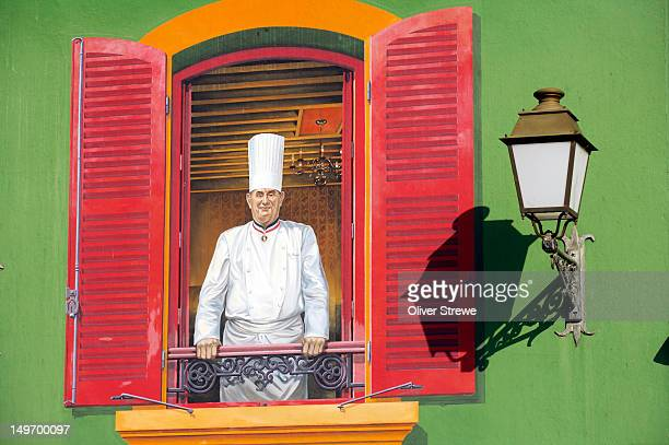 Mural of Paul Bocuse, French chef.