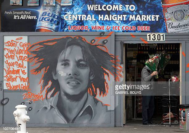 A mural of Reggae singer Bob Marley is pictured 23 December 2006 in the HaightAshbury District of San Francisco The locality is famous for its role...