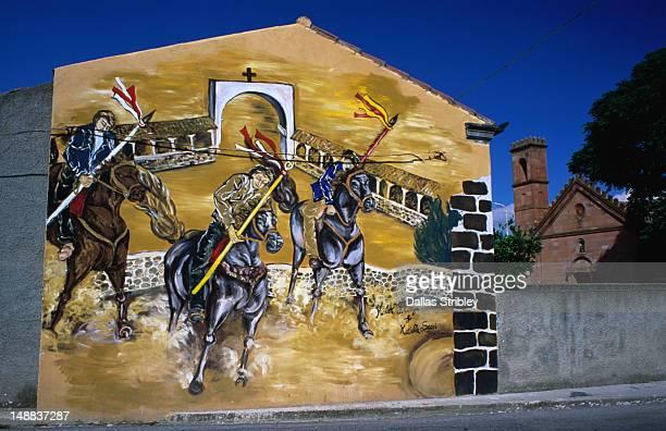 Mural of Sedilo's famous S'Ardia horse race.
