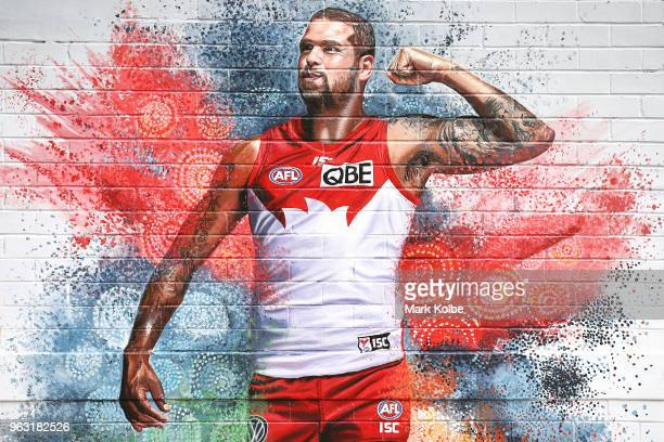 A mural of Sydney Swans player Lance 'Buddy' Franklin seen in Surry Hills painted ahead of the AFL Indigenous Round on May 28 2018 in Sydney Australia