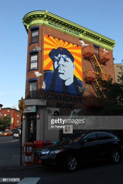A mural of The Notorious BIG aka Biggie Smalls by artist Cern One on a building at the intersection of Fulton Street and South Portland Avenue in the...