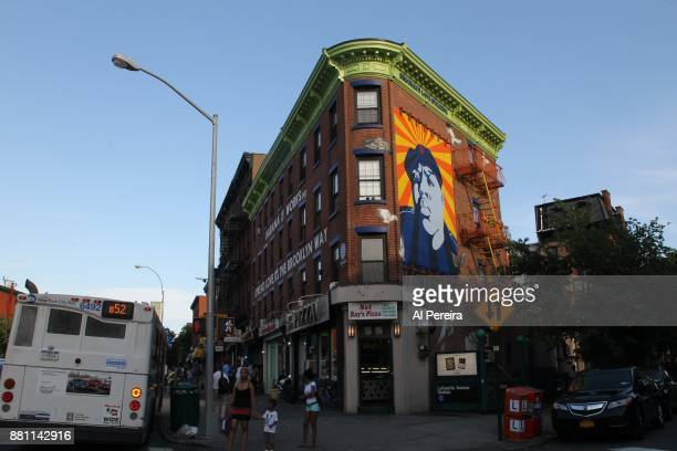 Mural of The Notorious B.I.G. Aka Biggie Smalls by artist Cern One on a building at the intersection of Fulton Street and South Portland Avenue in...