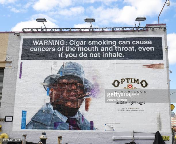 Mural of The Notorious BIG during the art installation part of celebration for the 25th anniversary of The Notorious BIG's Ready to Die Album...