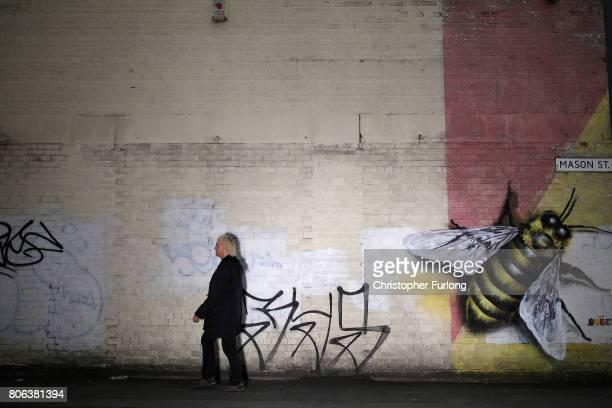 A mural of the worker bee by artist Russell Meeham also know as Qubek adorns the side of a building in Manchester's northern quarter on July 3 2017...