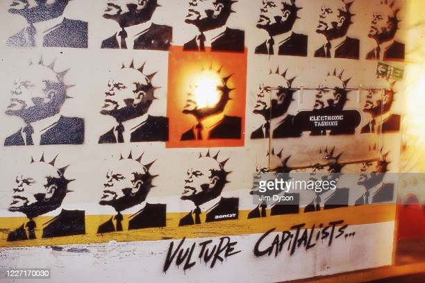 Mural of Vladimir Lenin with a Mohican titled 'Vulture Capitalists' by artist Banksy is pictured at an exclusive Graffiti Party in the underground...